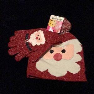 NWT Joe Boxer Santa Sparkle Beanie Hat Gloves Set